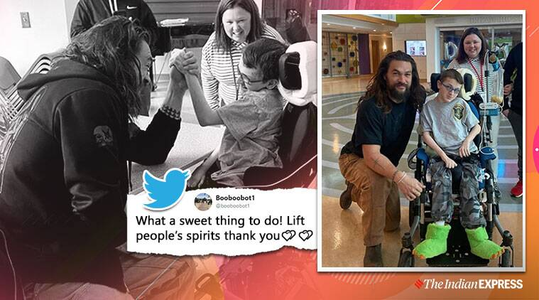 jason momoa, jason momoa visit kids in hospital, jason momoa arm wrestling match with kids, good news, entertainment news, indian express,
