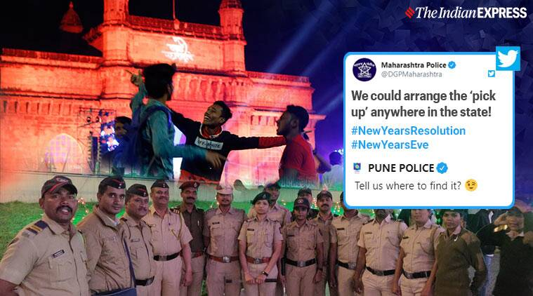 happy new year, new year 2020, pune police, maharashtra police, pune police funny reply, pune police funny no to drugs thread, witty police tweets, viral news, indian express