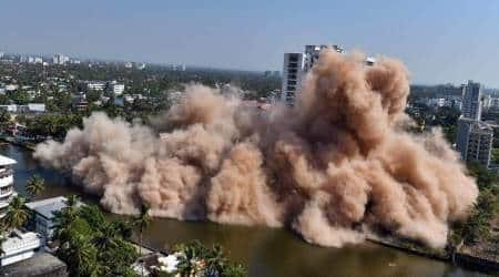 Maradu demolition, Maradu flats demolition, Maradu demolition video, Kerala Maradu buildings, indian express news