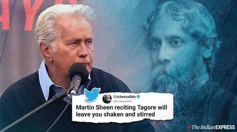 Martin sheen, Rabindranath Tagore, Martin Sheen Tagore poem, Where the mind is without fear, Martin Sheen Tagore poem speech, Fire drill friday protest, Viral videos, Indian express, entertainment news,