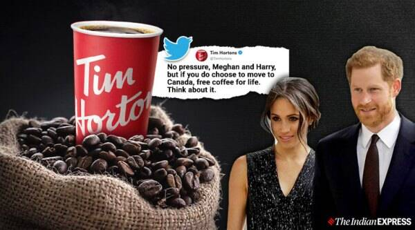 Prince Harry and Meghan Markle, Tim Hortons, Megxit, Royal Family, British royal family, Prince Harry and Meghan Markle exit royal family, Canada, Twitter, Trending, Indian Express news
