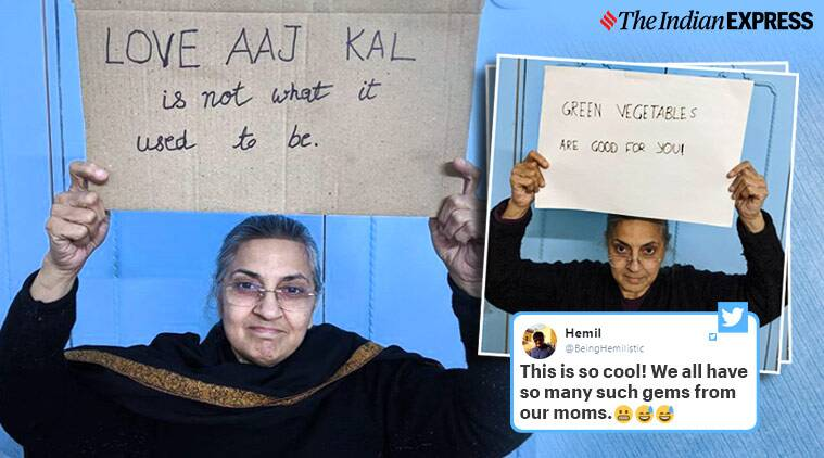 Mother with sign instagram, Mom with sign, Desi mom quotes, Desi mom with sign, Funny instagram handle, Viral news, Indian Express news