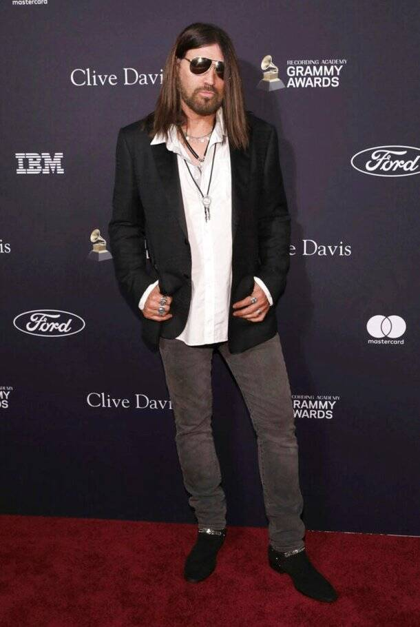 billy ray cyrus at pre-grammy gala