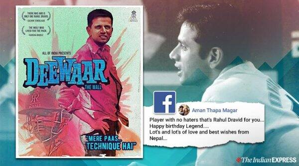 Rahul Dravid, Rahul Dravid birthday, Rahul Dravid birthday wishes, Rajasthan royals wish Rahul Dravid, Rahul Dravid Bollywood style wish from Rajasthan royals, Dewaar, Amitabh Bachchan movie, Trending, Indian Express news