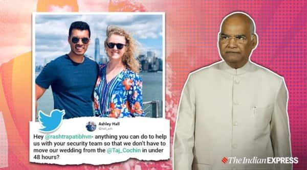 Ramnath Kovid, US couple wedding, US coupe wedding in Kochi, Kerala News, Trending, Indian Express news