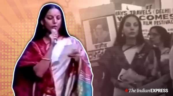 shabana azmi, shabana azmi bollywood viral video, Safdar Hashmi, shabana azmi protests against Safdar Hashmi, trending, indian express, indian express news