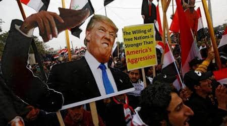 Iraq US, Iraq US tensions, US Iraq Donald Trump, Baghdad protest, World news Indian Express
