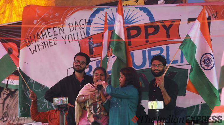 Republic Day. Republic Day 2020, Shaheen Bagh, CAA protests Shaheen Bagh, Rohith Vemula, Vemula mother flag shaheen bagh