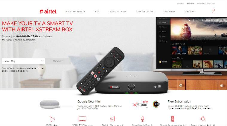 Airtel Xstream Box, Airtel Xstream Box discount, Airtel Xstream Box free Google Nest Mini, free Google Nest Mini with Airtel box, Airtel Xstream Box price, Airtel Xstream Box offer