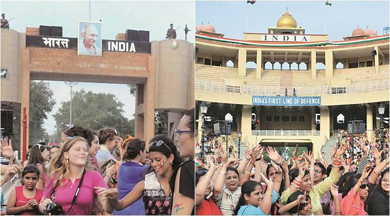 Wagah border, Attari Wagah border, Mahatma Gandhi portrait at Wagah border, Mahatma Gandhi portrait at Attari Wagah border, Attari border India, Wagah border Pakistan, India news, Indian Express