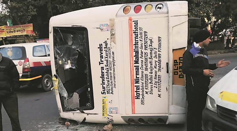 Delhi: School bus topples after collision in Naraina, 8 injured