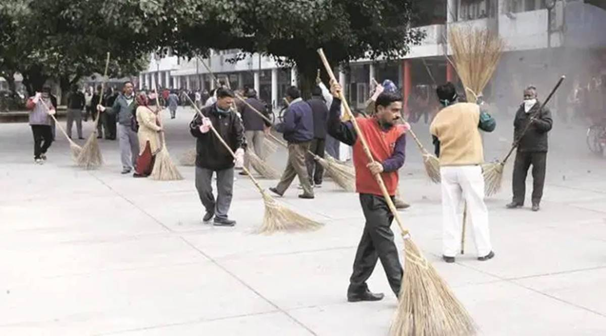 Rajkot: Sanitation workers hired from outsourcing agencies go on strike at PDU hospital