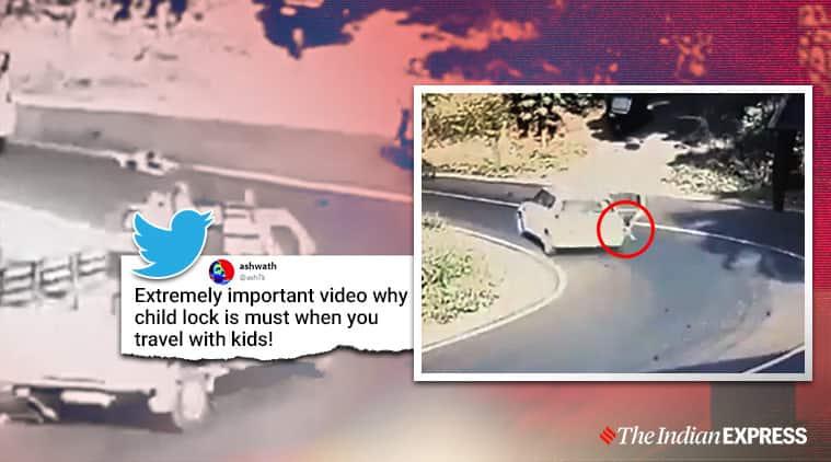 child safety, child falling viral video, kerala child safety, childlock, Kerala news, automotive safety, indian express