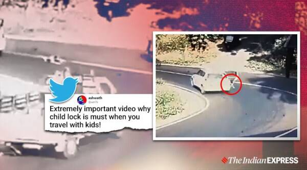 child safety, child falling viral video, kerala child safety, childlock, Kerala news, automotive safety, indian express