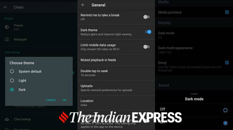 Dark theme, Dark mode, WhatsApp Dark mode, Instagram dark mode, how to enable WhatsApp dark mode, Facebook Messenger dark mode, YouTube app Dark mode, Twitter dark mode