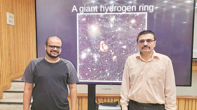 hyderogen ring aound galaxy, galaxy hydrogen ring, National Centre for Radio Astrophysics, NCRA, Tech news, Indian Express