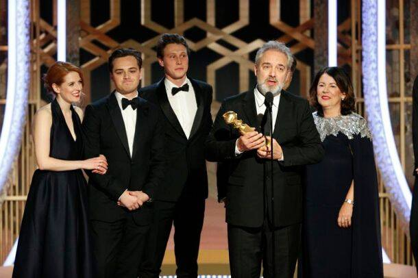 Sam Mendes accepting the award for best motion picture drama for 1917