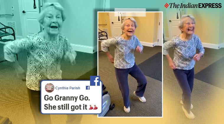 Dancing grandmother, 91-year-old woman dance, 91-year-old dancer to Elvis Presley, grandma danced to celebrate the end of therapy, Indiana, Trending, Viral video, Indian Express news