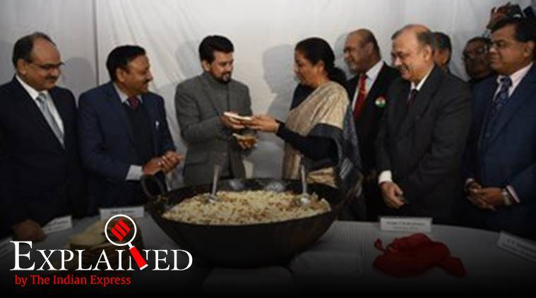 halwa ceremony budget, Nirmala Sitharaman halwa, what is budget halwa ceremony, origins of halwa, halwa history, how did halwa come to india, halwa arabic word, halwa Turkey, indian express, indian express explained