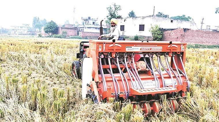 punjab happy seeder machine, happy seeder machine, happy seeder machine punjab, punjab stubble burning, punjab farming, india news, indian express