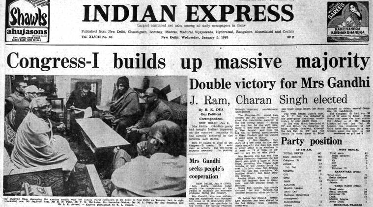 Forty years ago january 9 1980 an indira victory