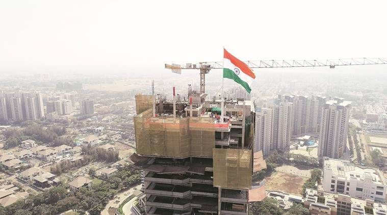 Pune Indian falg hoisted, Indian flag at pune's tallest building, flag of india, Pune news, maharashtra news, indian express news