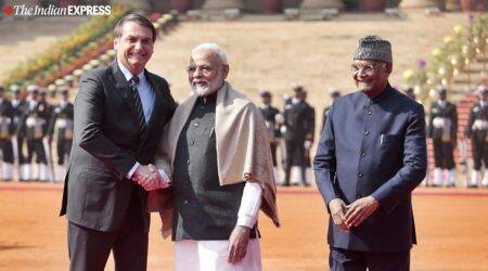 jair bolsonaro in india, brazil president ceremonial reception, republic day chief guest, rashtrapati bhavan, india-brazil relations, pm narendra modi, president ramnath kovind, indian express