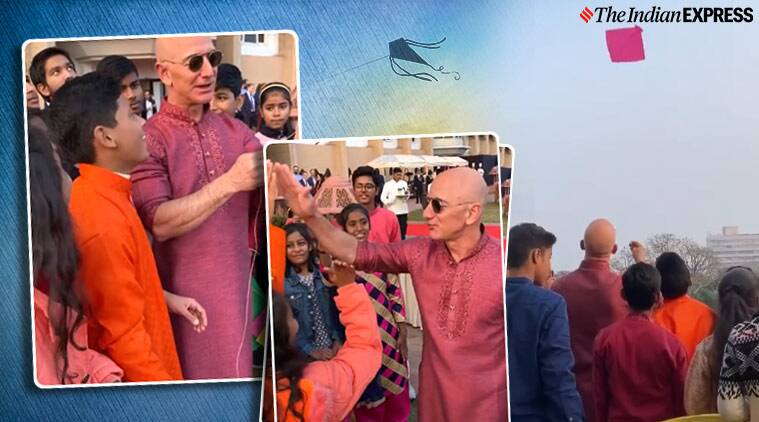 Jeff Bezos, Jeff Bezos inb india, makar sankranti, Jeff Bezos fly kites, Jeff Bezos kites video, Jeff Bezos fly kites with kids, indian express