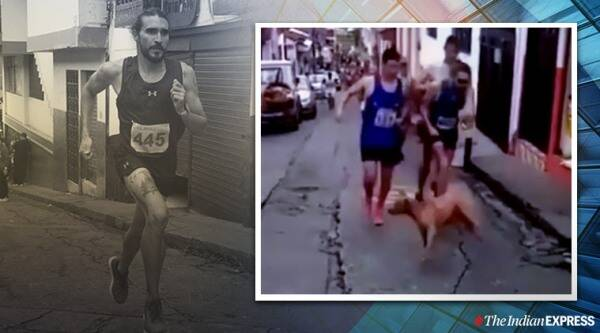 Colombian runner loses sponsorship after kicking dog during race, Saint Silvester Road Race in Caldas, trending, indian express, indian express news