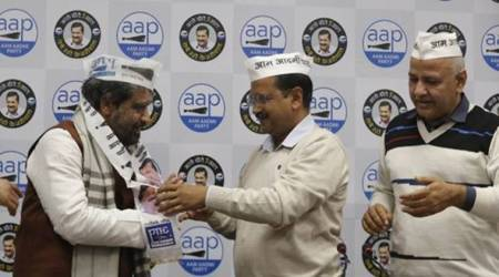 Congress leaders join AAP, Ram Singh Netaji, Mahabal Mishra son, Vinay Kumar Mishra, Arvind kejriwal, delhi congress, delhi assembly elections, delhi news, indian express
