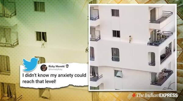 baby on building ledge viral video, scary video viral, spanish child viral video, scary baby video, viral video baby, baby on ledge viral video, trending, indian express, indian express news