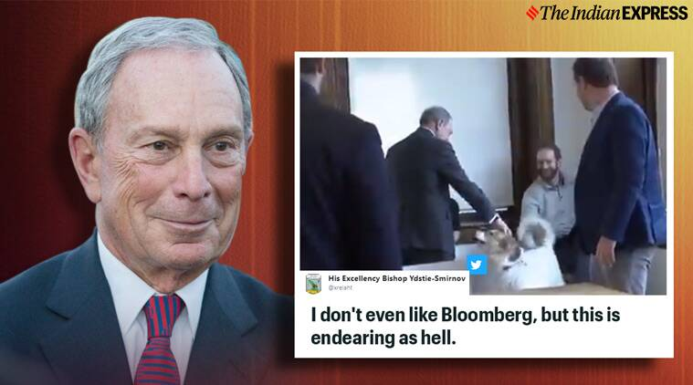 man shakes dog snout, Mike Bloomberg, Mike Bloomberg dog snout video, Mike Bloomberg dog snout shake video, us presidential election, viral videos, indian express