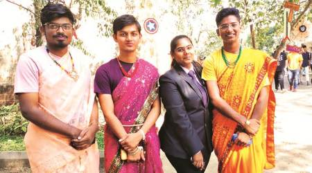 breaking social norm, social construct, boys in saree, Fergusson College Pune, pune news, indian express news