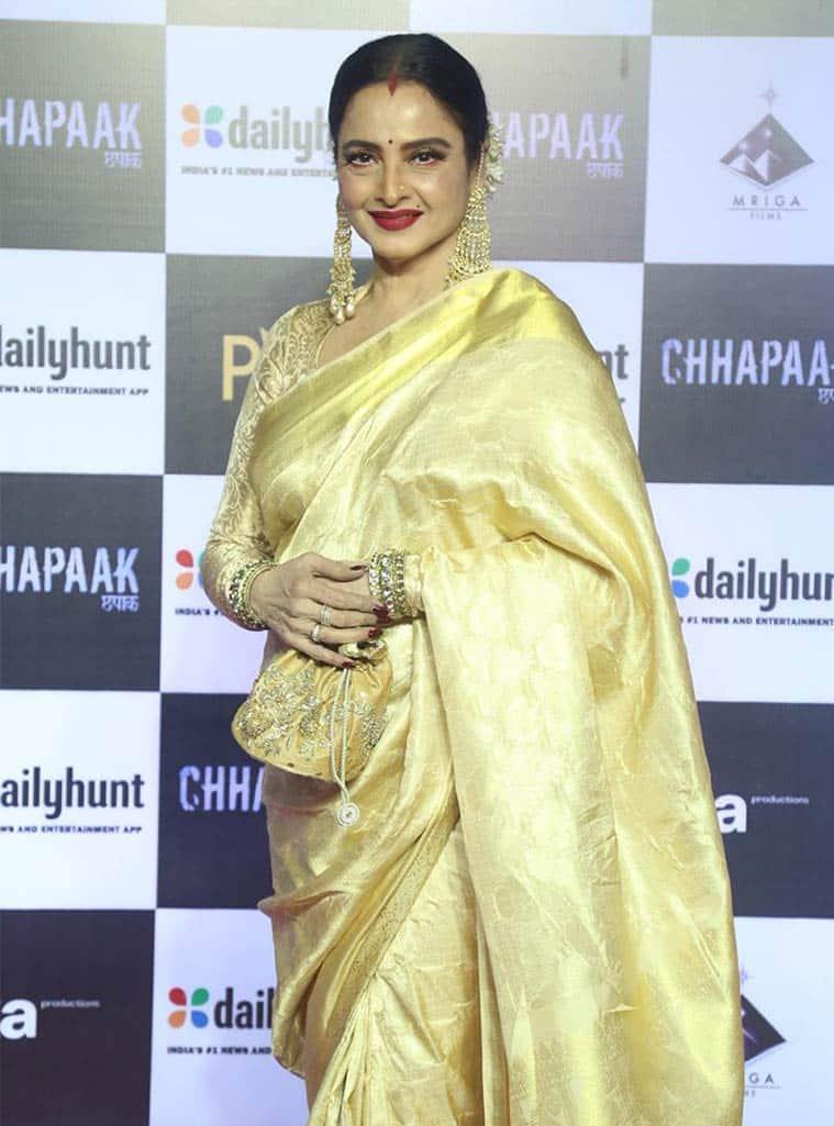 chhapaak screening, rekha, rekha deepika padukone, rekha at chhapaak screening, indian express, indian express news