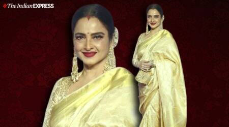 Deepika Padukone, deepika padukone Chhapaak screening, rekha, rekha at chhapaak screening, deepika padukone Chhapaak promotions, Sabyasachi Mukherjee, Deepika Padukone print on print sari, Deepika Padukone Sabyasachi Mukherjee sari lokmat awards, indian express news