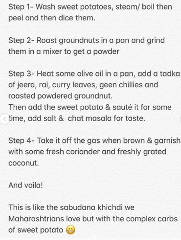 sonali bendre, sweet potato khichdi recipe