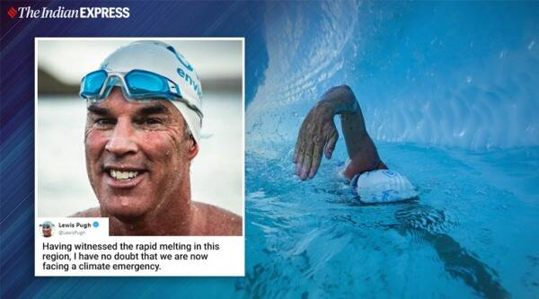 50-year-old swims beneath ice sheet in Antarctica, Man swims for climate change awareness, Climate change, Ice melt in Antarctica, Antarctica, Trending, Indian Express news