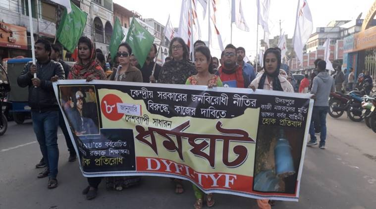 JNU violence, Tripura protest against JNU violence, JNU protest, ABVP, indian express, SFI protest,