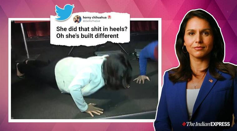 Watch: A man challenged Tulsi Gabbard to a push-up contest, and he lost