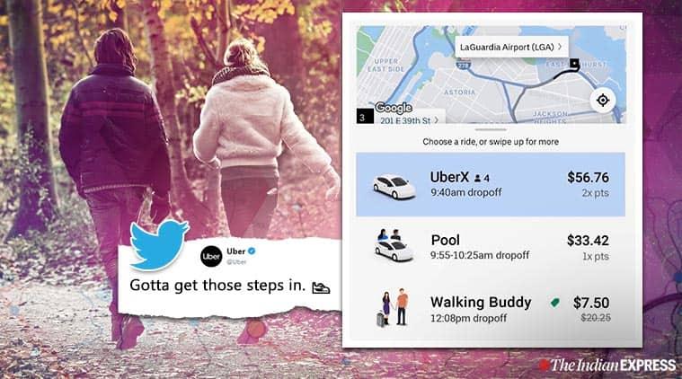 uber ride options, uber walking buddy, walking buddy uber option, viral news, funny twitter thread, indian express, weird news, odd news,