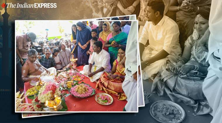 Kerala wedding in Mosque, Hindu couple tie the knot in Kerala mosque, Hindu wedding in Mosque, Cheruvally Muslim Jamaat mosque, Alappuzha, Kerala news, Trending, Indian Express news