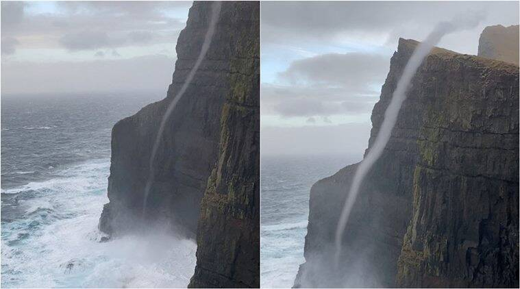 Rare sea vortex, Water flows upwards, Beinisvørð cliff water vortex, Suðuroy, Faroe Islands, Viral videos, Indian express