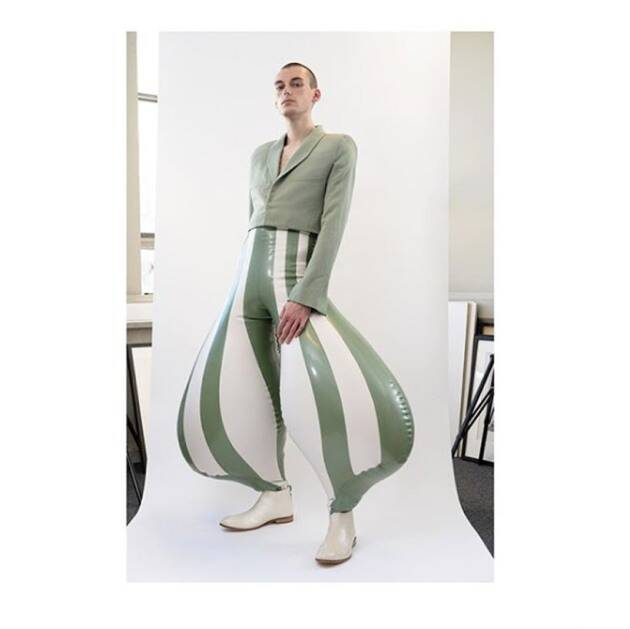 Inflatable trousers latex, Bizzare fashion trend, Bizzare fashion trouser, Bizzare fashion trend 2020, indian express news