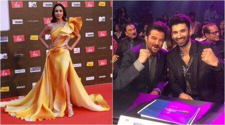 Malaika Arora, Aditya Roy Kapur and Anil Kapoor at the Miss Diva Universe 2020 finale