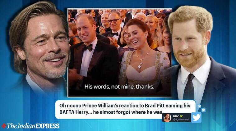 bafta, brad pitt, prince harry, brad pitt megxit joke, william kate laugh at harry joke bafta, viral videos, indian express
