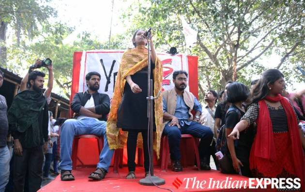 Aishe Ghosh Jadavpur University, Aishe Ghosh Jadavpur University speech, Aishe Ghosh Jadavpur University photos, Aishe Ghosh photos, Aishe Ghosh Kolkata pictures, indian express news
