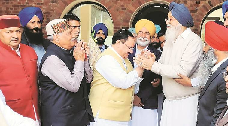 Jp nadda calls on badal at his village didnt talk politics