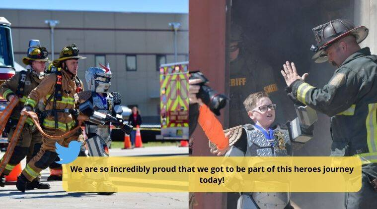 10-year-old boy becomes crime-fighting robot, 10-year-old Florida boy, fire fighting robots, honorary deputy, neoplasm, boy with heart condition, Make a Wish Foundation, #ROBOGaige, Orange County Sheriff's Office, Florida, Indian Express news