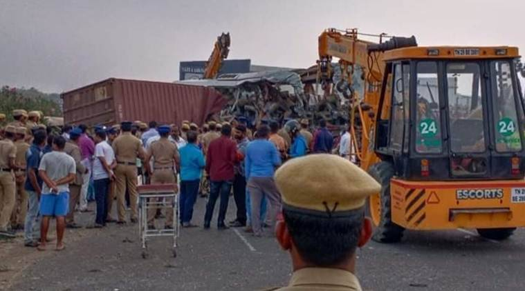 Kerala bus accident, Coimbatore bus accident, 17 people kille din kerala bus accident, KSRTC bus, Bengaluru to Ernakulam bus, Indian express