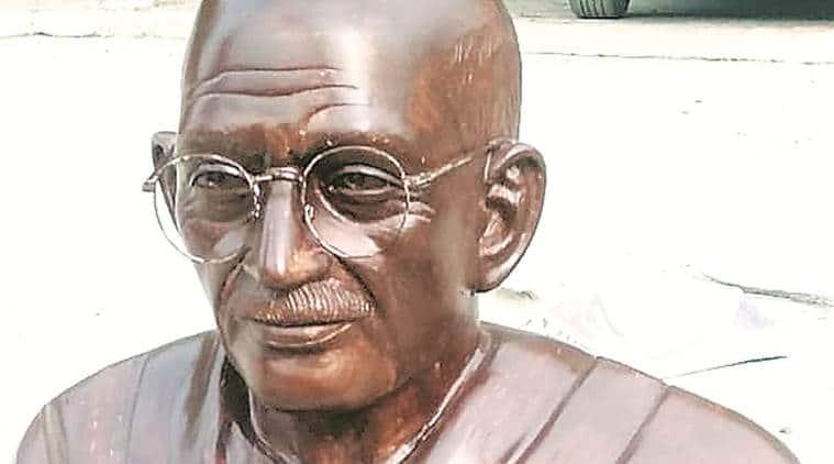 Gandhi bust Ben Kingsley look, Mahatma Gandhi Bust MP college, Ben Kingsley Gandhi, Ben Kingsley as Mahatma Gandhi, indian express